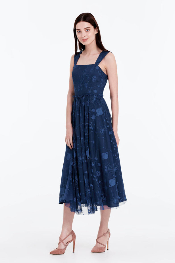 Blue dress with a space pattern photo 3 - MustHave online store