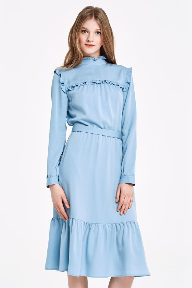 Blue dress with a ruffle yoke photo 1 - MustHave online store