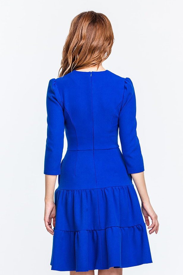 Blue dress with a threefold skirt and puffed sleeves photo 2 - MustHave online store