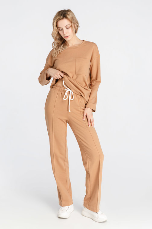 Beige Brown Knit Trousers