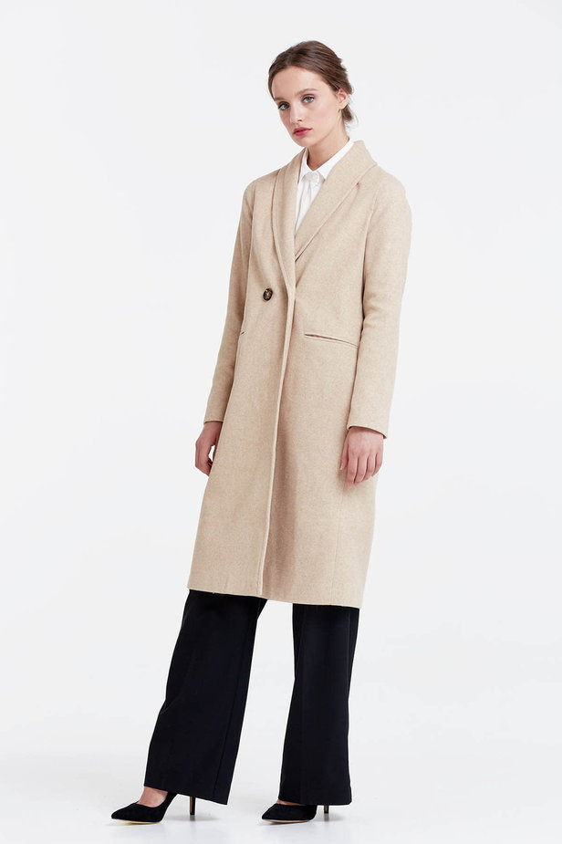 Below the knee double-breasted beige coat photo 2 - MustHave online store