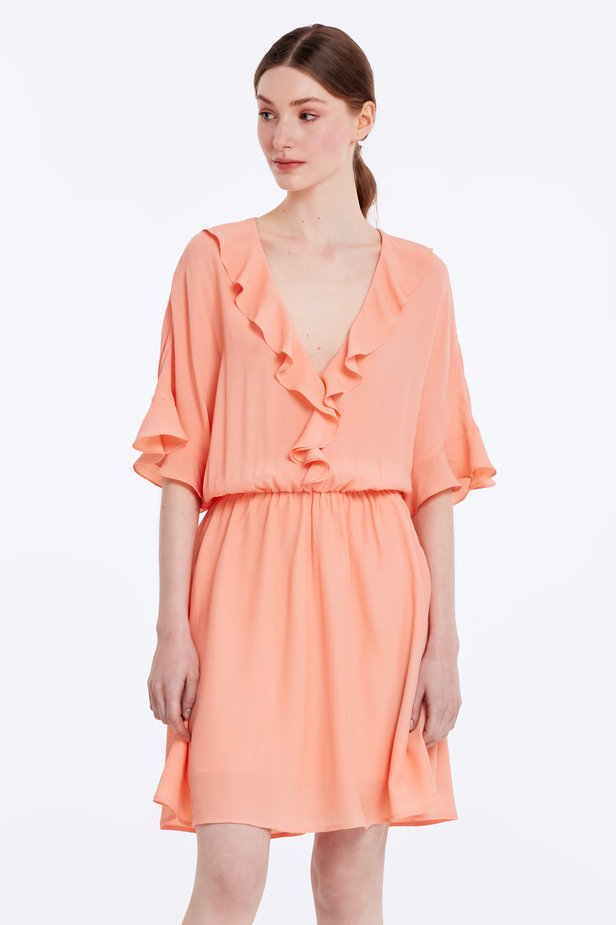 Peach-colored dress with ruffles photo 1 - MustHave online store
