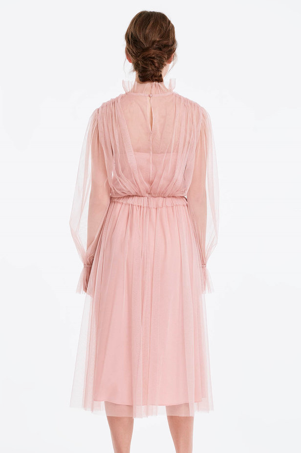 Below the knee powder pink dress with pleats photo 3 - MustHave online store