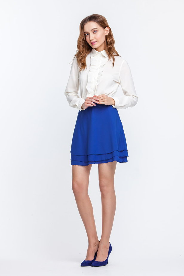 Mini blue chiffon skirt photo 5 - MustHave online store