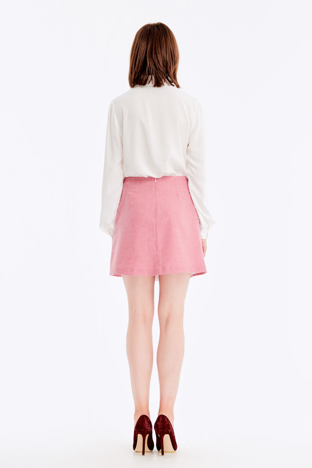 Mini skirt with pink herringbone print photo 5 - MustHave online store