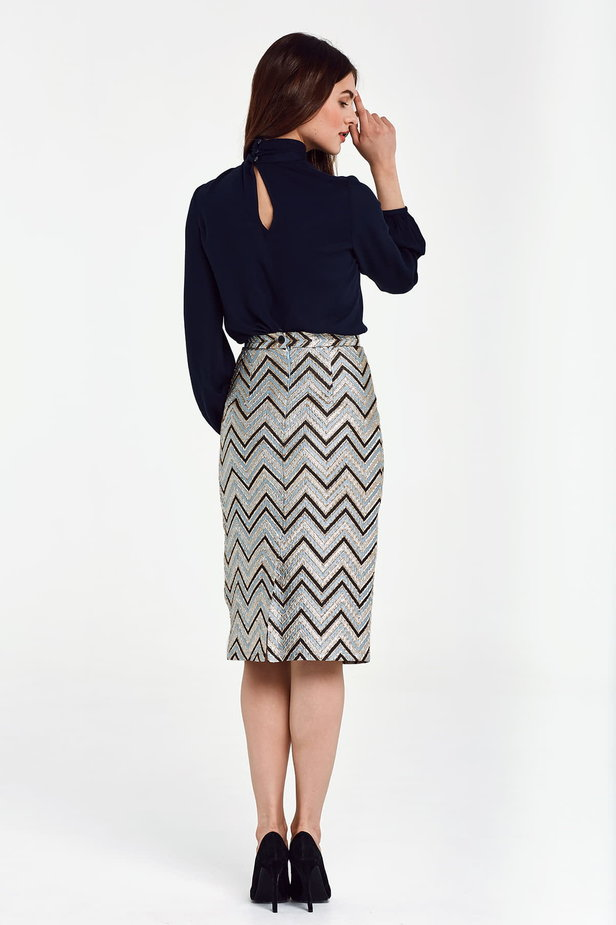 Blue skirt with black and gold zigzag below the knee photo 3 - MustHave online store