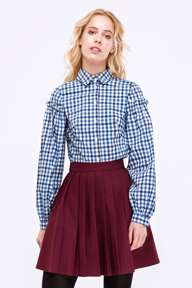 Checked shirt with ruffles on the sleeves photo 1 - MustHave online store