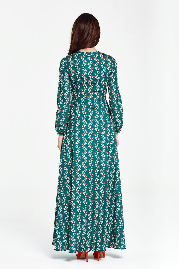 Maxi green dress with a concealed placket, floral print photo 4 - MustHave online store