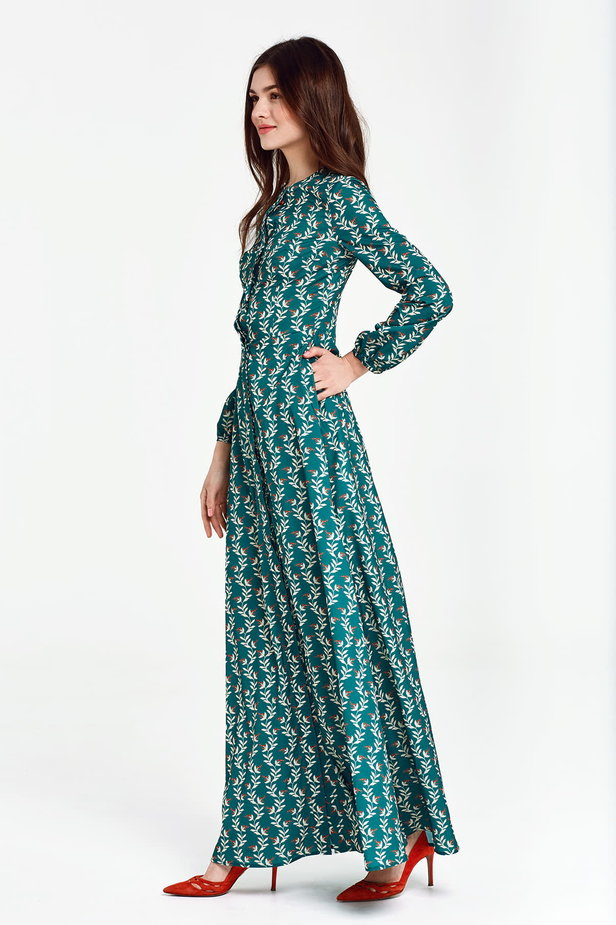 Maxi green dress with a concealed placket, floral print photo 3 - MustHave online store
