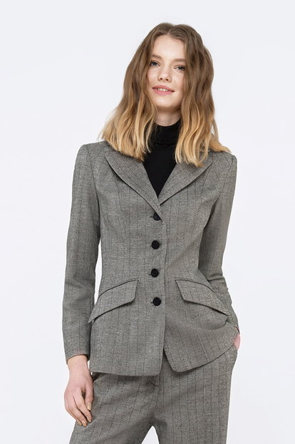 Slim-waisted grey jacket with a herringbone print