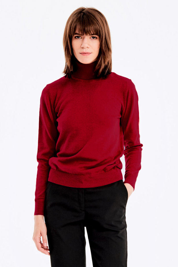 Red knit polo neck photo 1 - MustHave online store