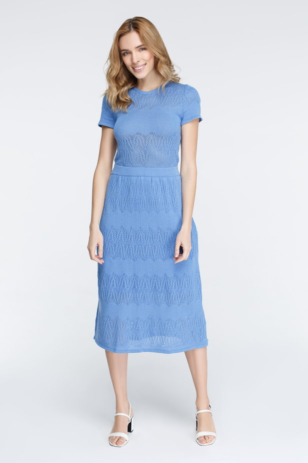 Blue knitted dress photo 2 - MustHave online store
