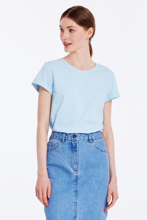 Blue T-shirt with cuffs photo 6 - MustHave online store