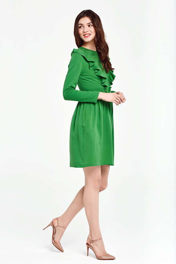Green dress with ruffles above the knee photo 6 - MustHave online store