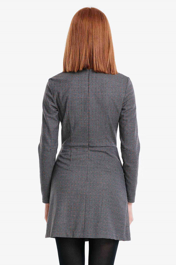 Wrap grey dress with a houndstooth print and a pocket photo 4 - MustHave online store