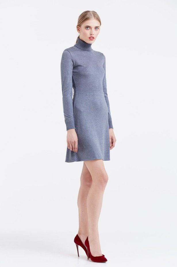 Grey knitted dress photo 5 - MustHave online store