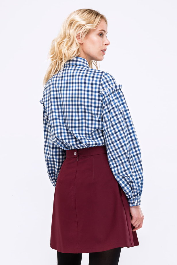 Checked shirt with ruffles on the sleeves photo 2 - MustHave online store