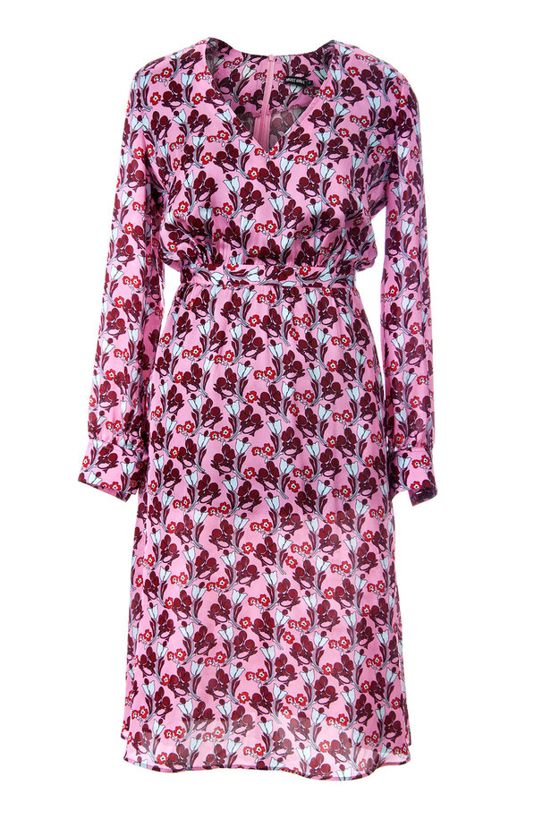 V-neck pink dress with a floral print photo 2 - MustHave online store