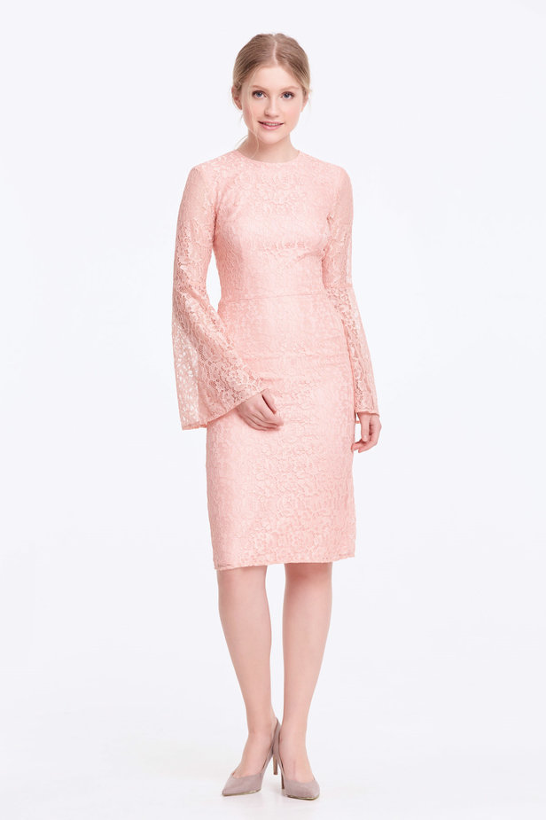 Column powder pink lace dress with flared sleeves photo 3 - MustHave online store