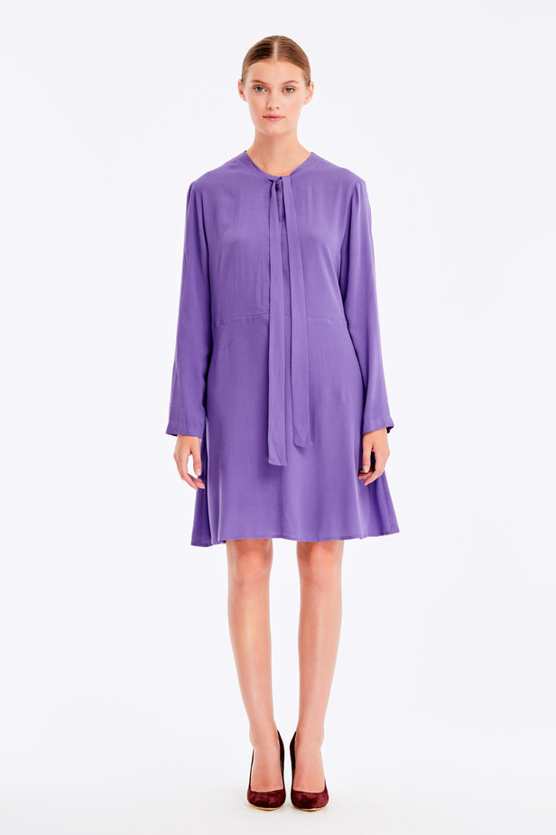 Violet dress with ties photo 2 - MustHave online store