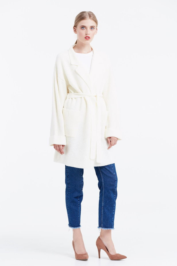 Milky cardigan with a belt photo 4 - MustHave online store