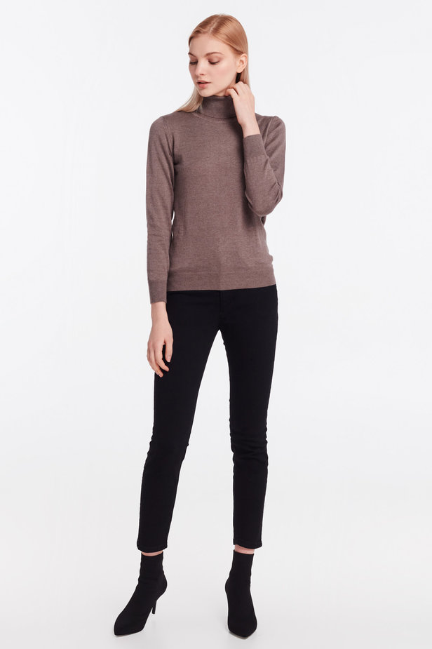 Brown knit polo neck photo 3 - MustHave online store