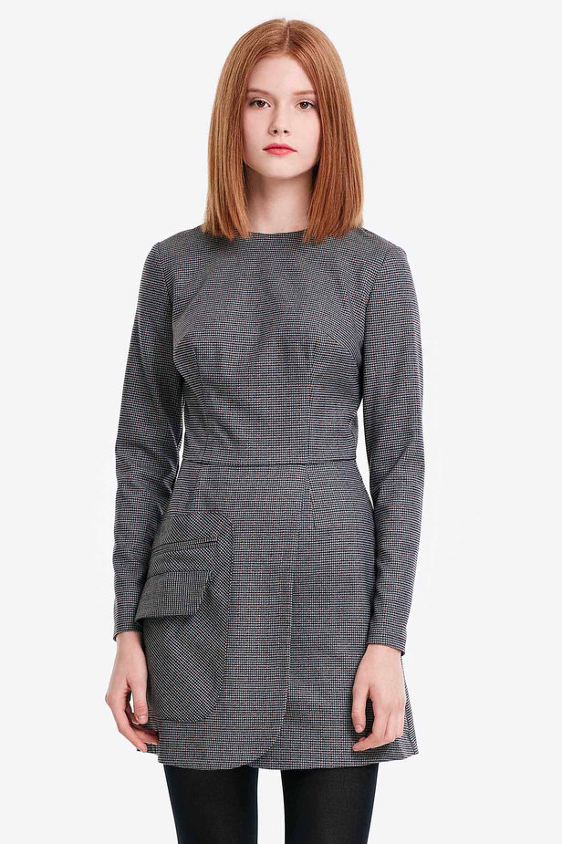 Wrap grey dress with a houndstooth print and a pocket photo 1 - MustHave online store