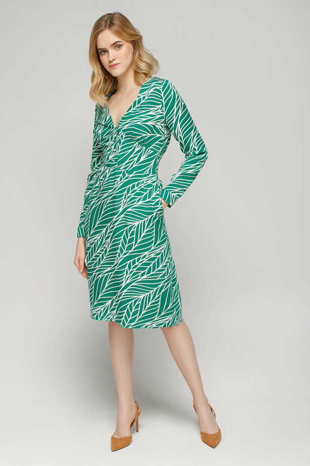 Green dress below the knee with leaf print and V-neck