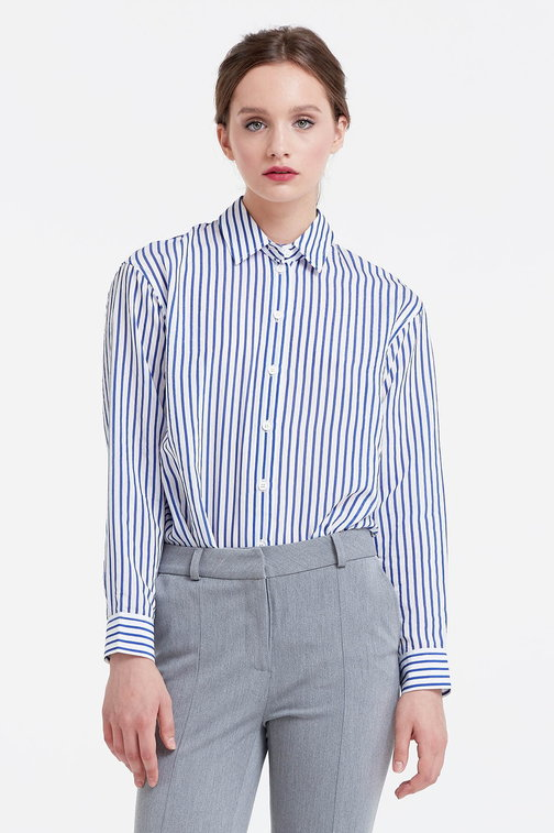 White shirt with blue stripes