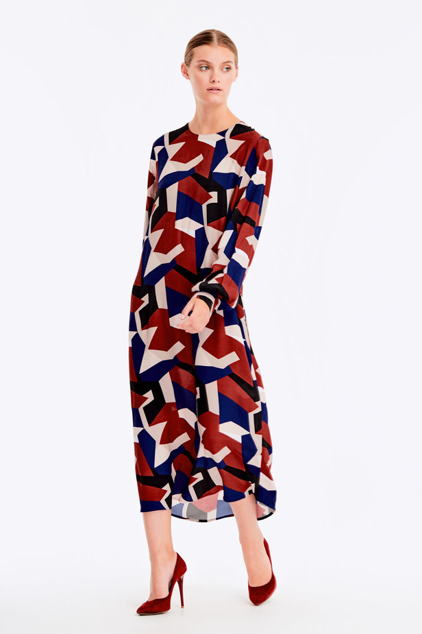 Free midi dress with variegated geometric print ¶¶ photo 8 - MustHave online store