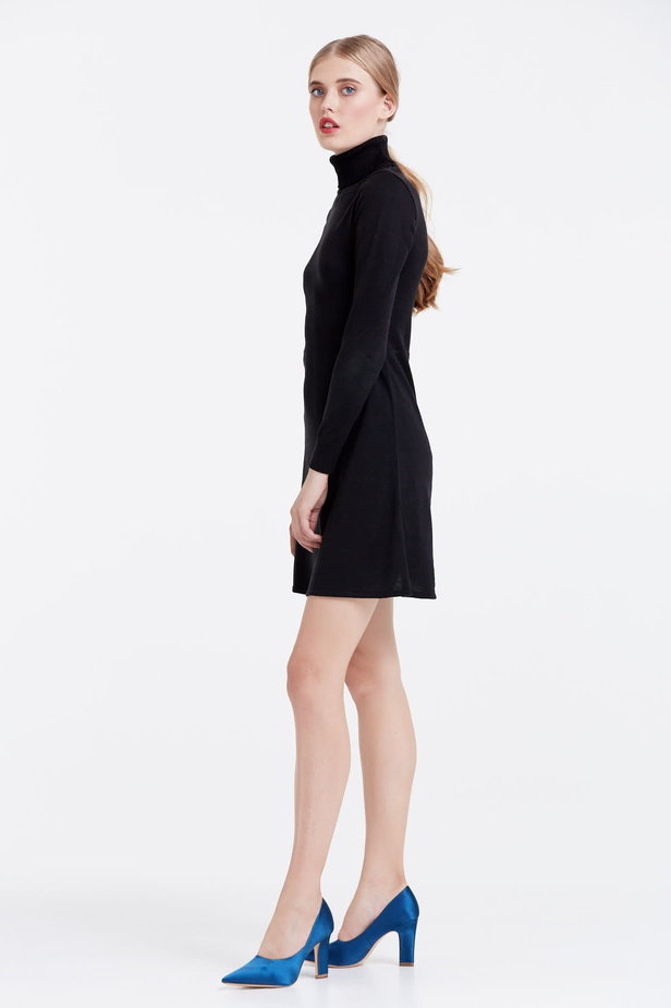 Black knitted dress photo 2 - MustHave online store