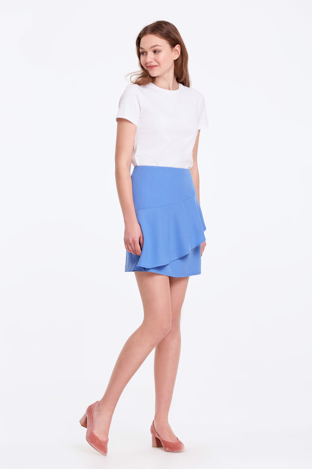 Mini blue skirt with a flounce photo 6 - MustHave online store