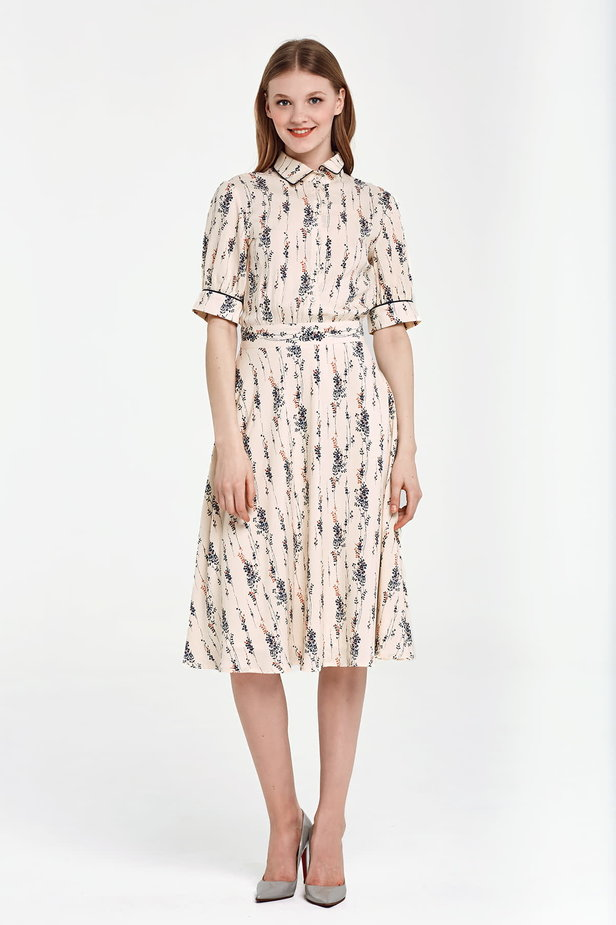 Midi beige shirt dress, floral print photo 5 - MustHave online store