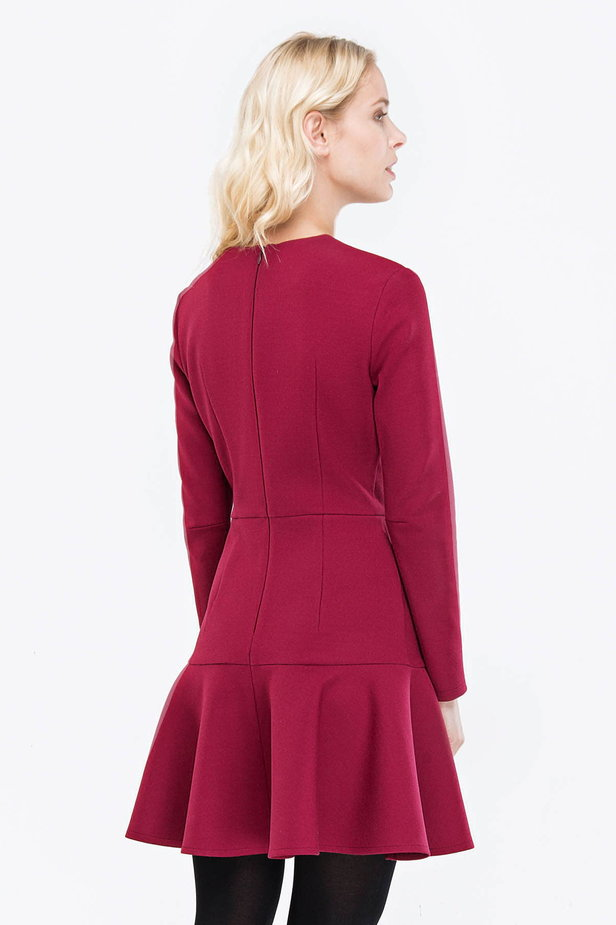 Wine-colored dress with a trumpet skirt photo 3 - MustHave online store