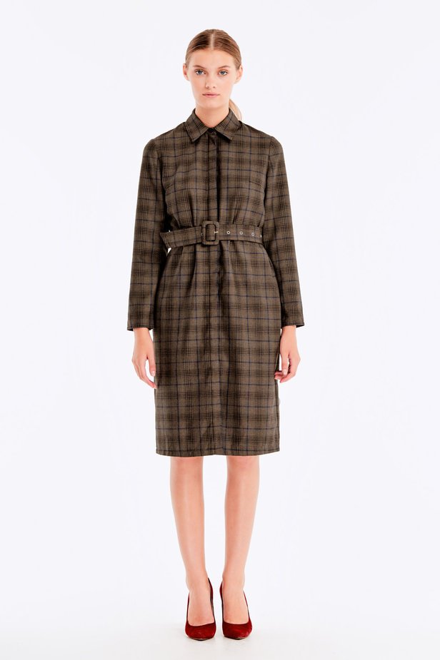 Brown dress with dark-blue check print photo 3 - MustHave online store