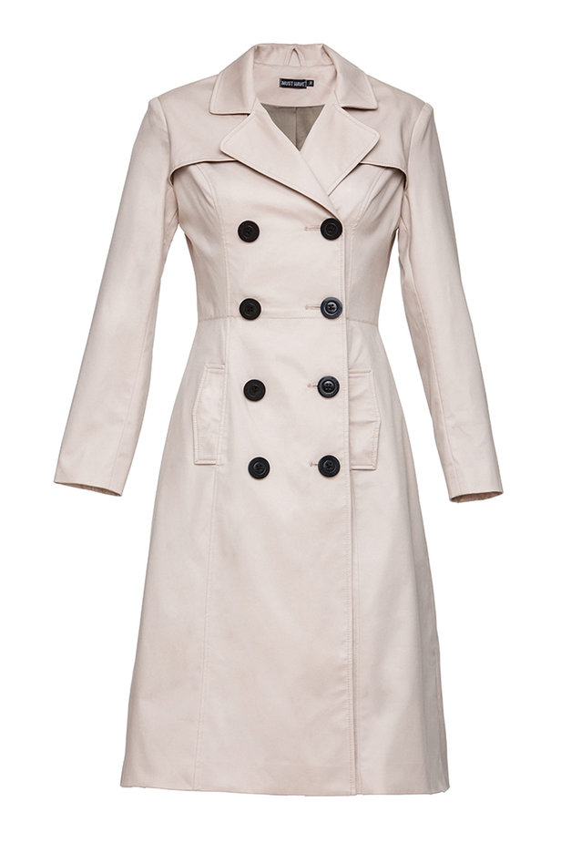 Double-breasted beige trenchcoat photo 6 - MustHave online store