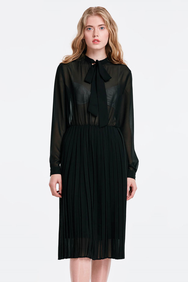 Black chiffon dress with a bow photo 1 - MustHave online store