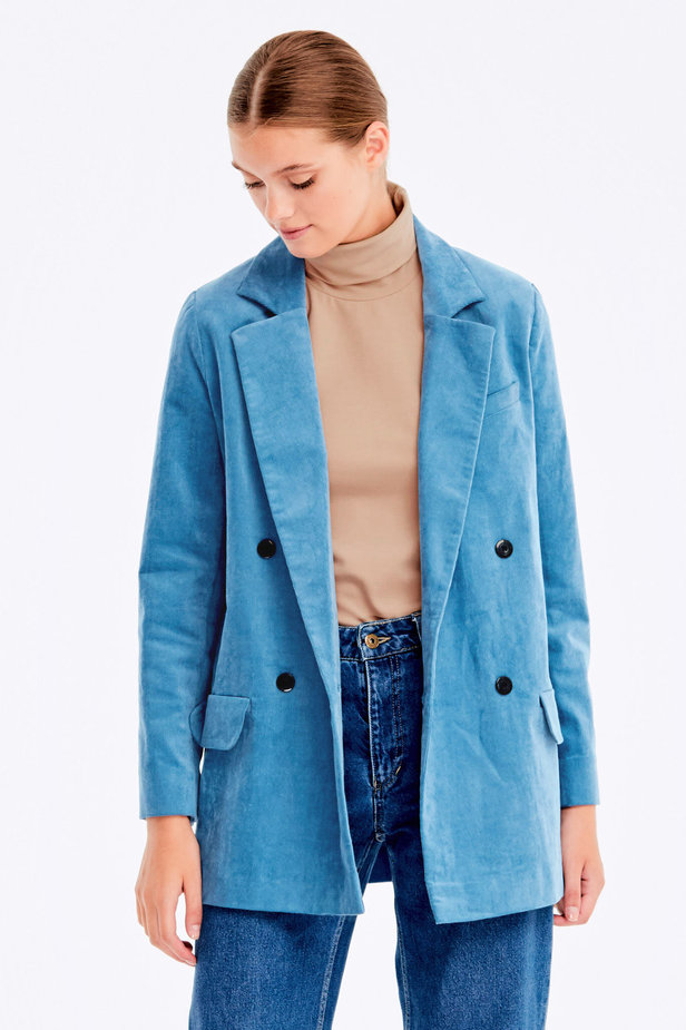 Double-breasted blue velvet jacket photo 1 - MustHave online store