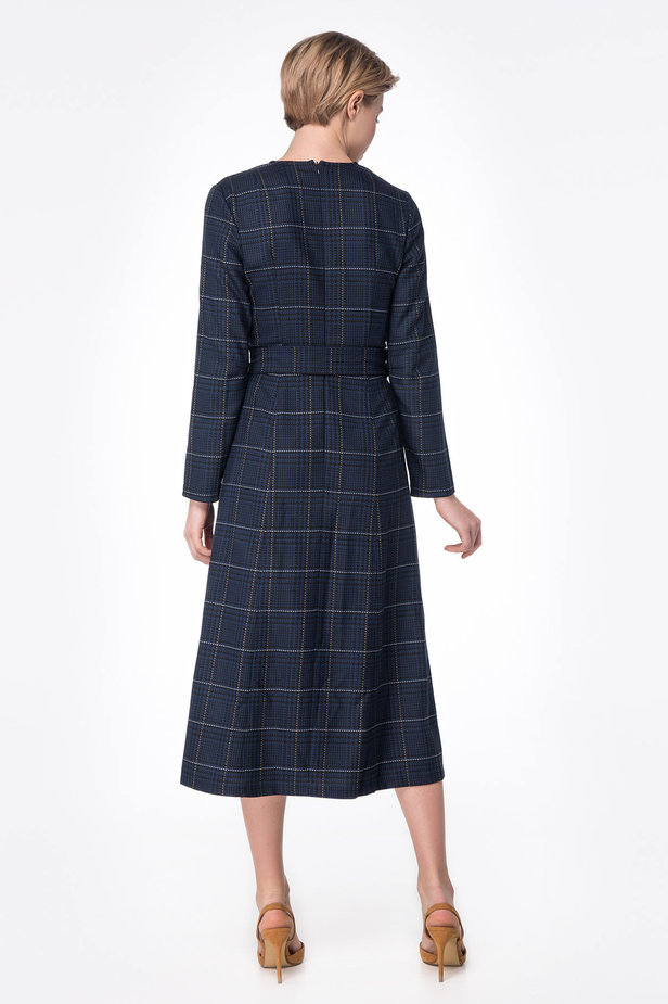Dark-blue check dress with a waist photo 5 - MustHave online store