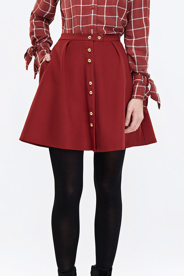 Mini flared wine skirt with buttons photo 1 - MustHave online store