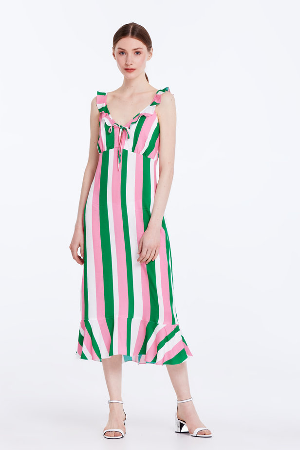 Sundress with white, green and pink stripes and a flounce photo 3 - MustHave online store