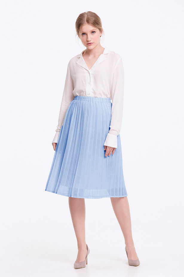 Below the knee pleated sky-blue skirt photo 3 - MustHave online store