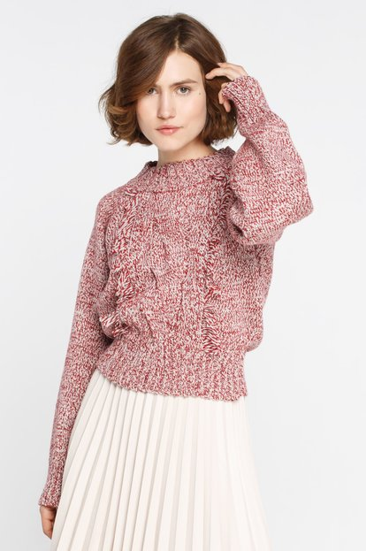 Melange wool cropped sweater