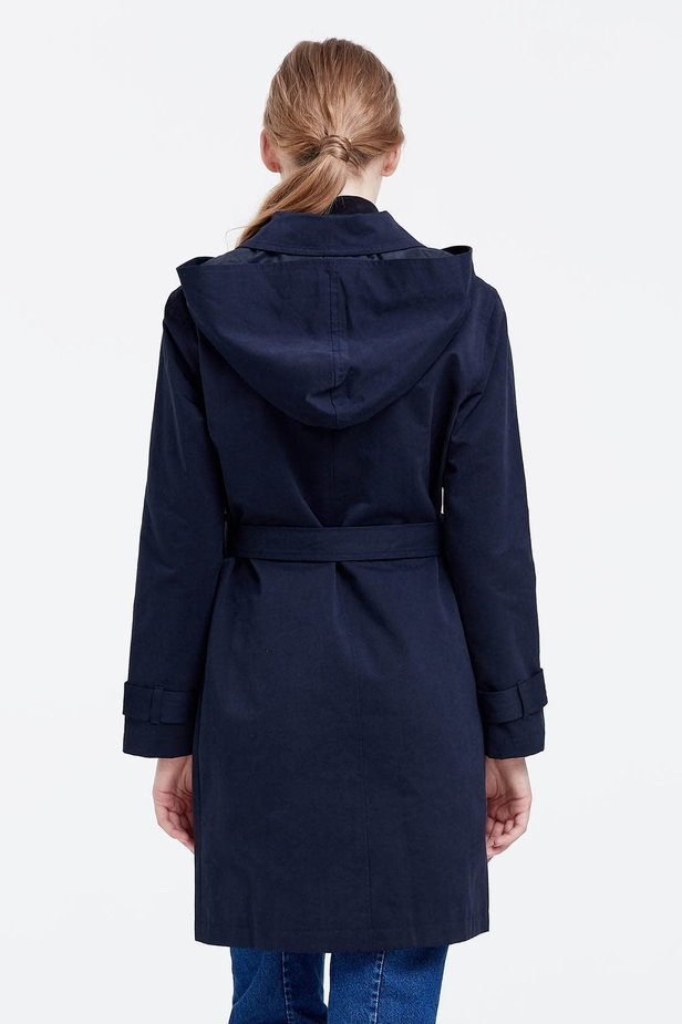 Dark blue trenchcoat with a hood photo 4 - MustHave online store