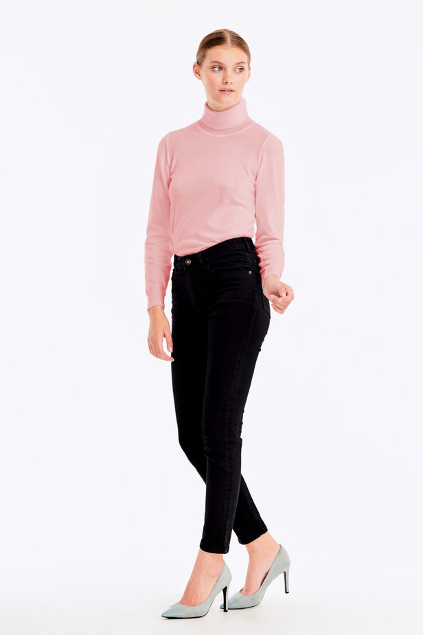 Powder pink polo neck with cotton photo 6 - MustHave online store