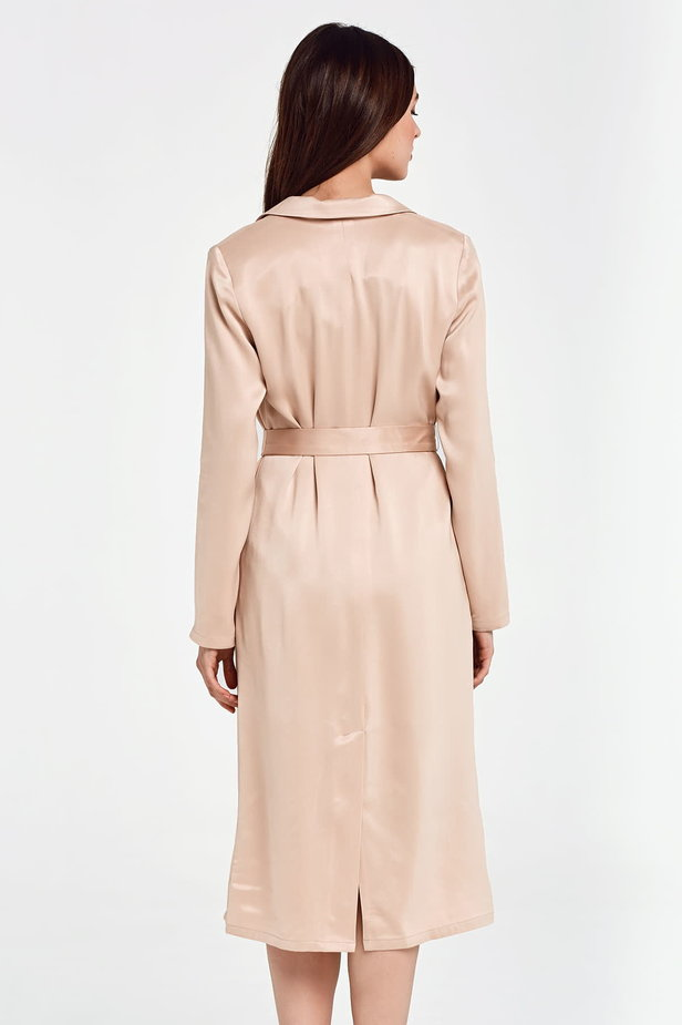 Below the knee wrap beige trenchcoat with a belt photo 6 - MustHave online store