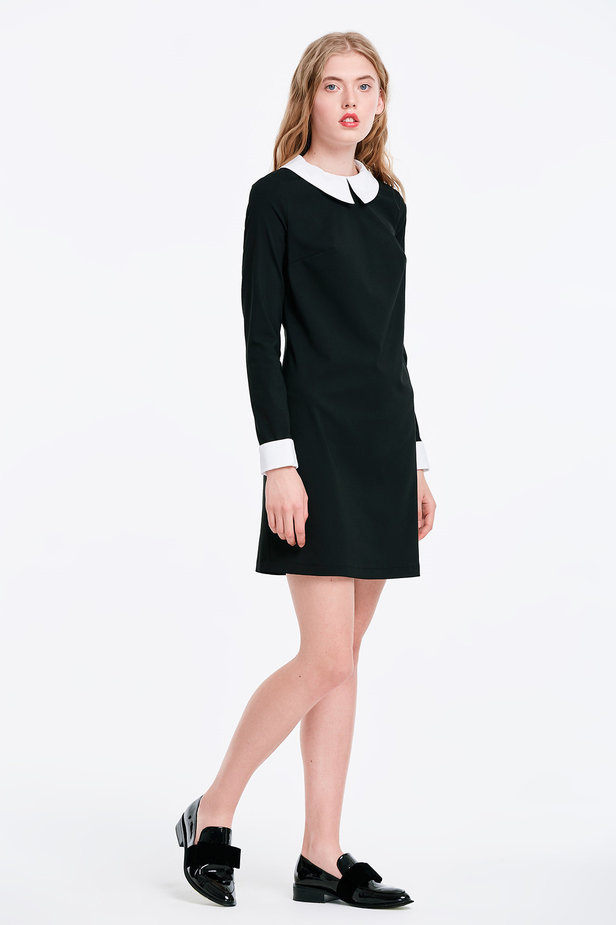 Black dress with a white collar photo 5 - MustHave online store
