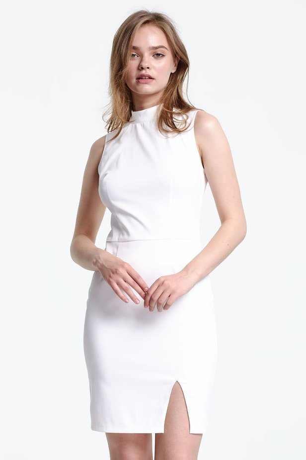 Above the knee white dress with a slit photo 1 - MustHave online store