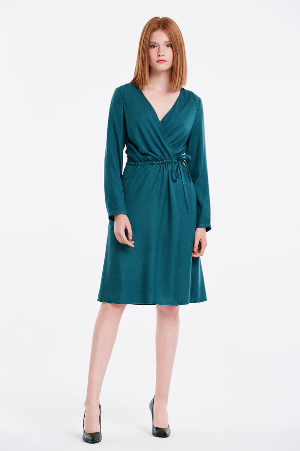 Wrap marine green dress photo 3 - MustHave online store
