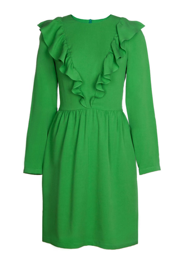 Green dress with ruffles above the knee photo 2 - MustHave online store